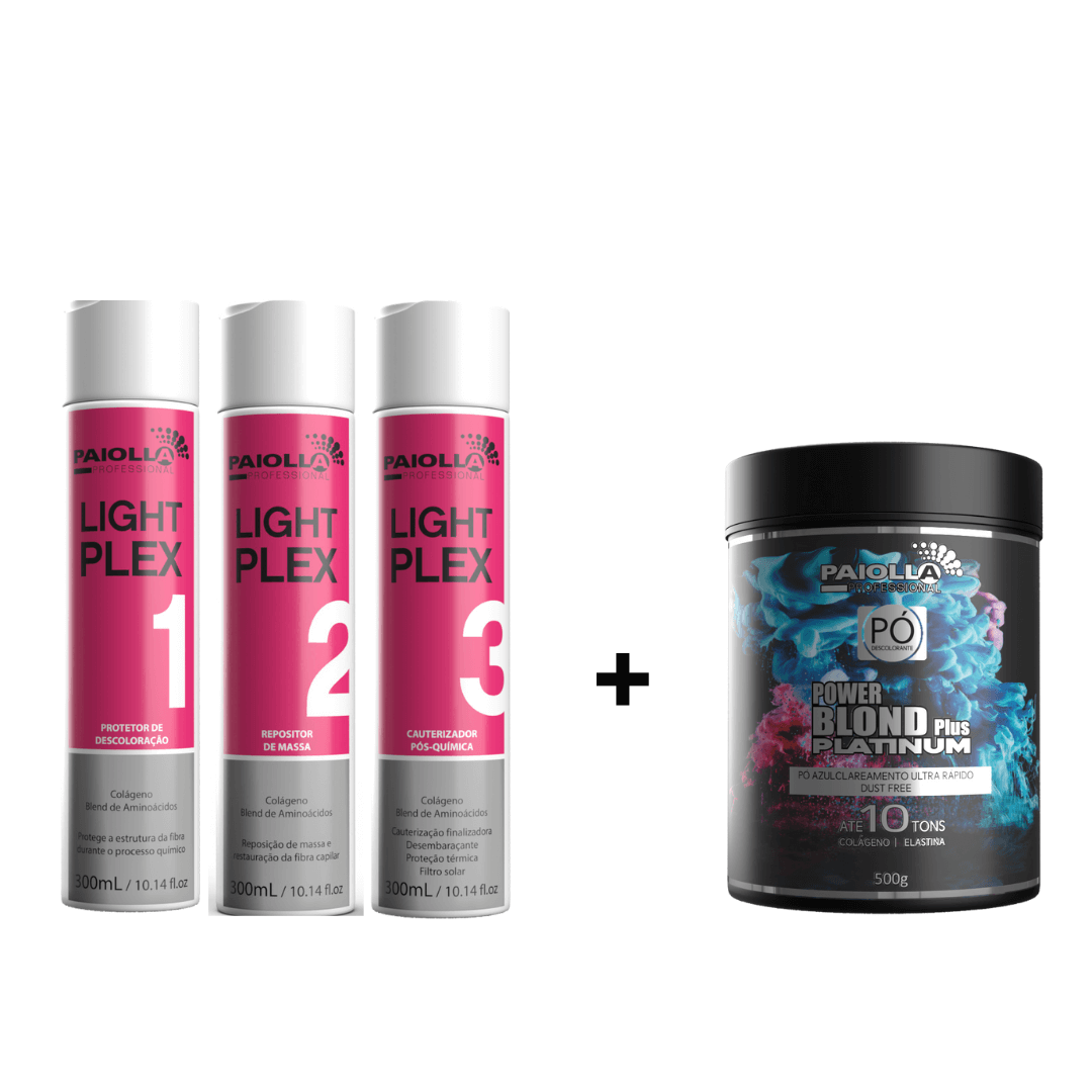 COMBO Pó Descolorante Power Blond Plus Platinum 500g + Kit Light Plex