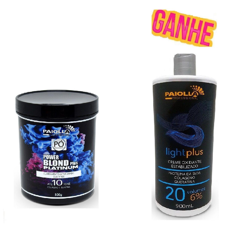 COMBO Pó Descolorante Power Blond Plus Platinum 500g + OX 20 Volumes GRÁTIS