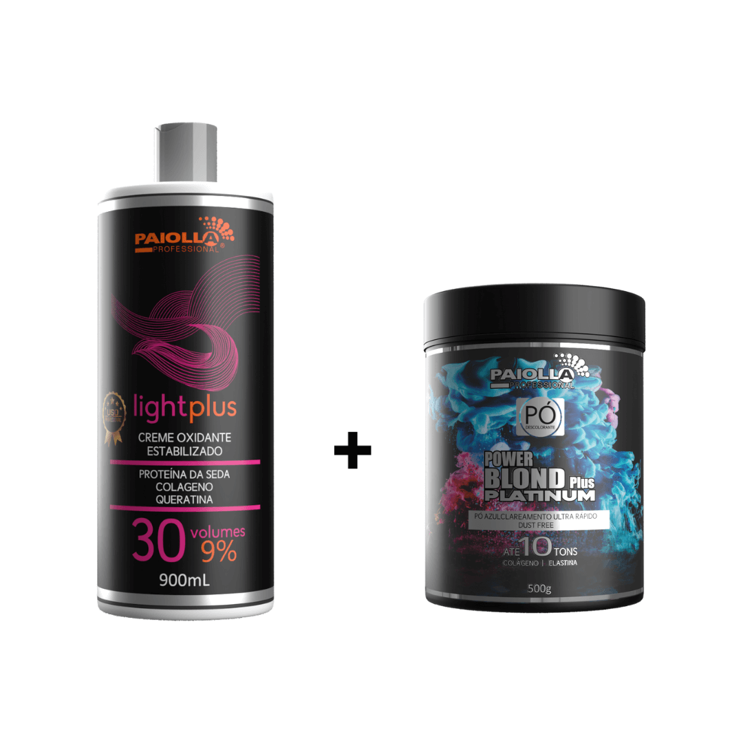 COMBO Pó Descolorante Power Blond Plus Platinum 500g + OX 30 Volumes