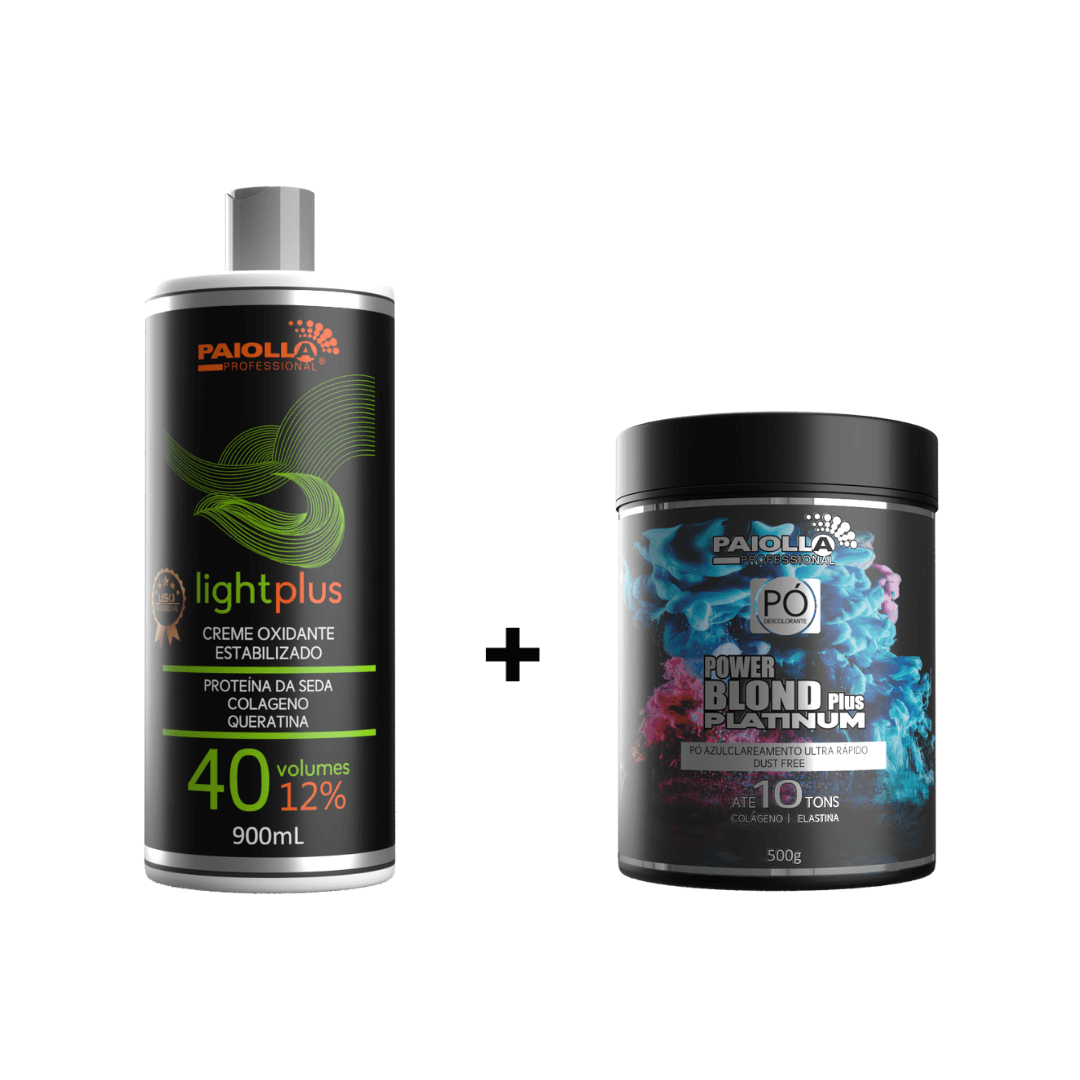 COMBO Pó Descolorante Power Blond Plus Platinum 500g + OX 40 Volumes
