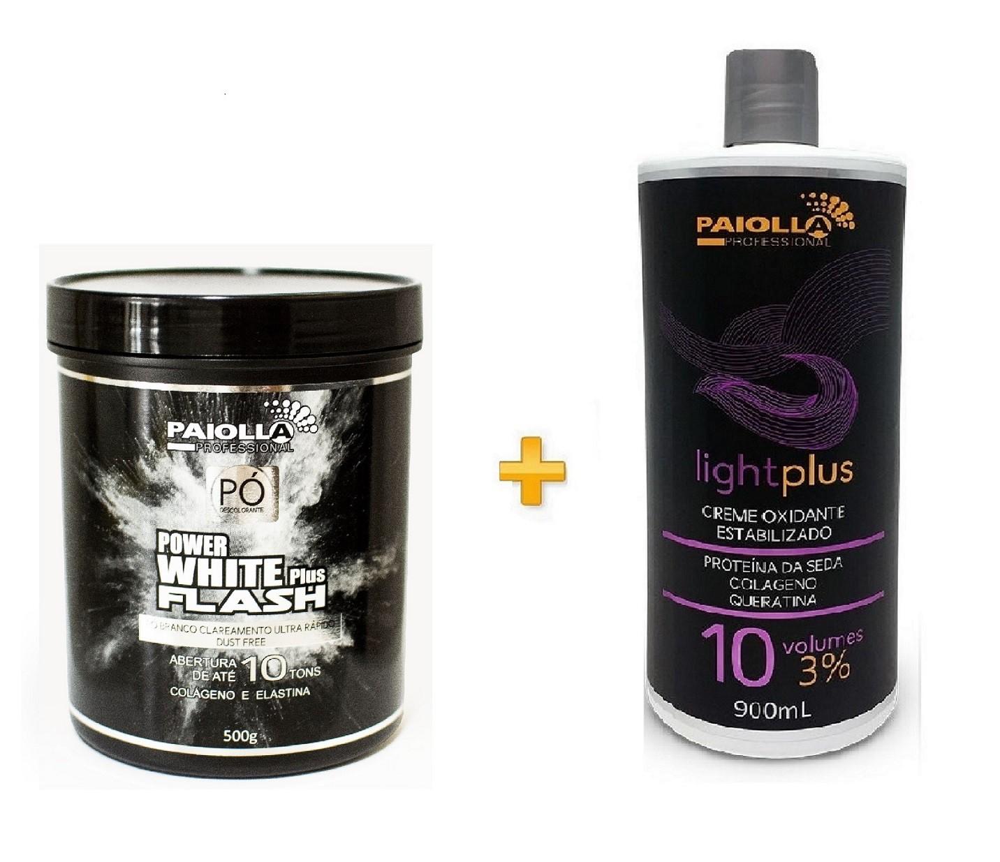 COMBO Pó Descolorante Power White Flash 500g + Creme Oxidante Estabilizado 10 volumes
