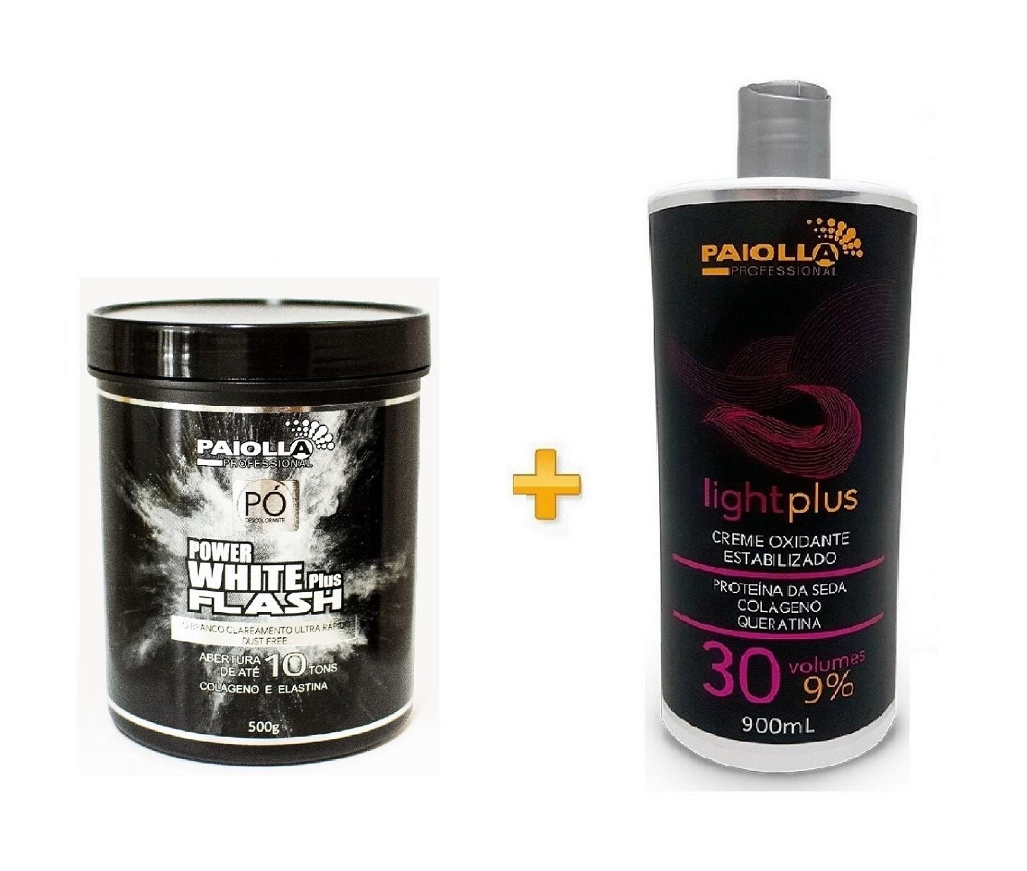 COMBO Pó Descolorante Power White Flash 500g + Creme Oxidante Estabilizado 30 volumes