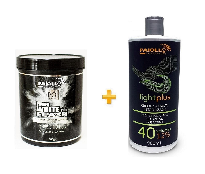 COMBO Pó Descolorante Power White Flash 500g + Creme Oxidante Estabilizado 40 volumes
