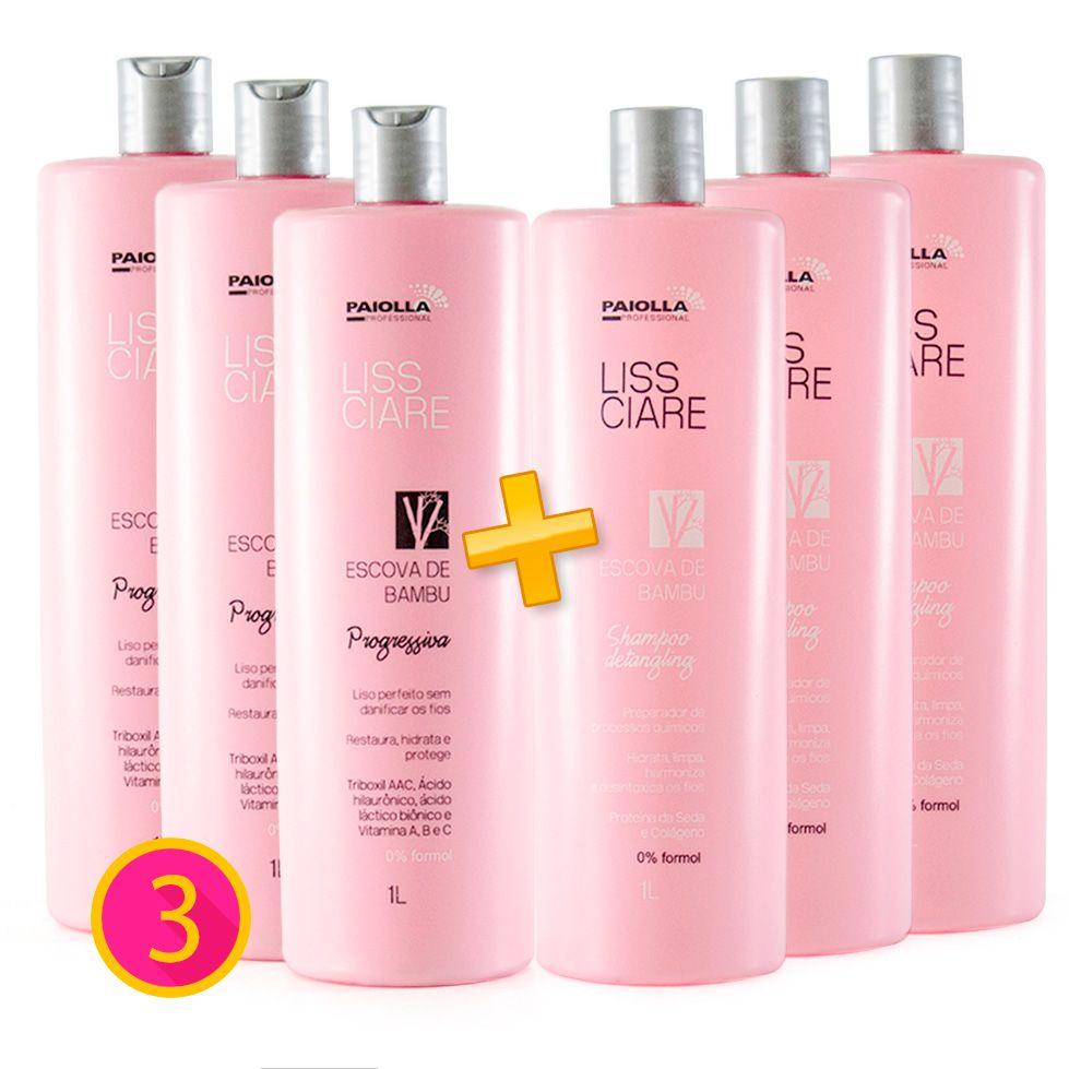 COMBO Profissional - 3 Escova Progressiva Sem Formol + 3 Shampoo Detangling Liss Ciare BAMBU - GRÁTIS