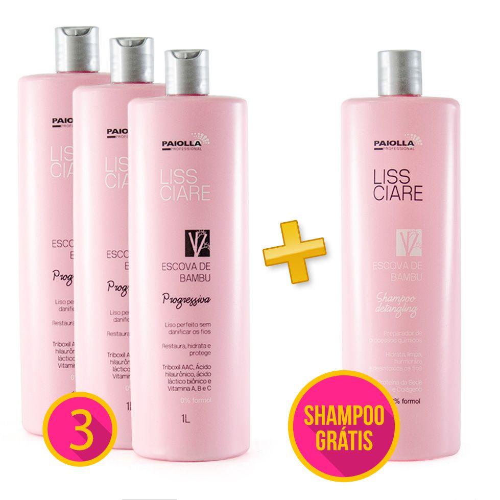 COMBO Profissional - 3 Escova Progressiva Sem Formol + Shampoo Detangling Liss Ciare BAMBU - GRÁTIS