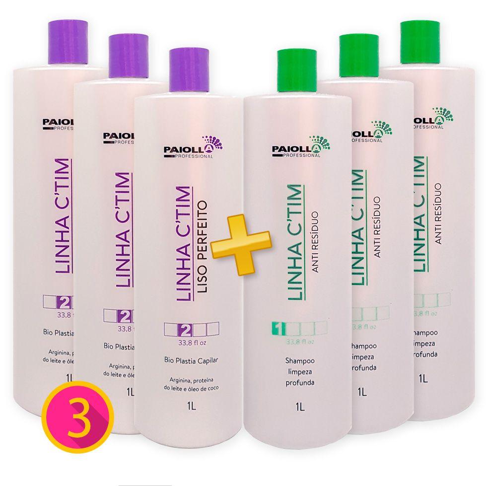 COMBO Profissional - 3 Escova Progressiva + 3 Shampoo Anti Resíduo CTIM - GRÁTIS