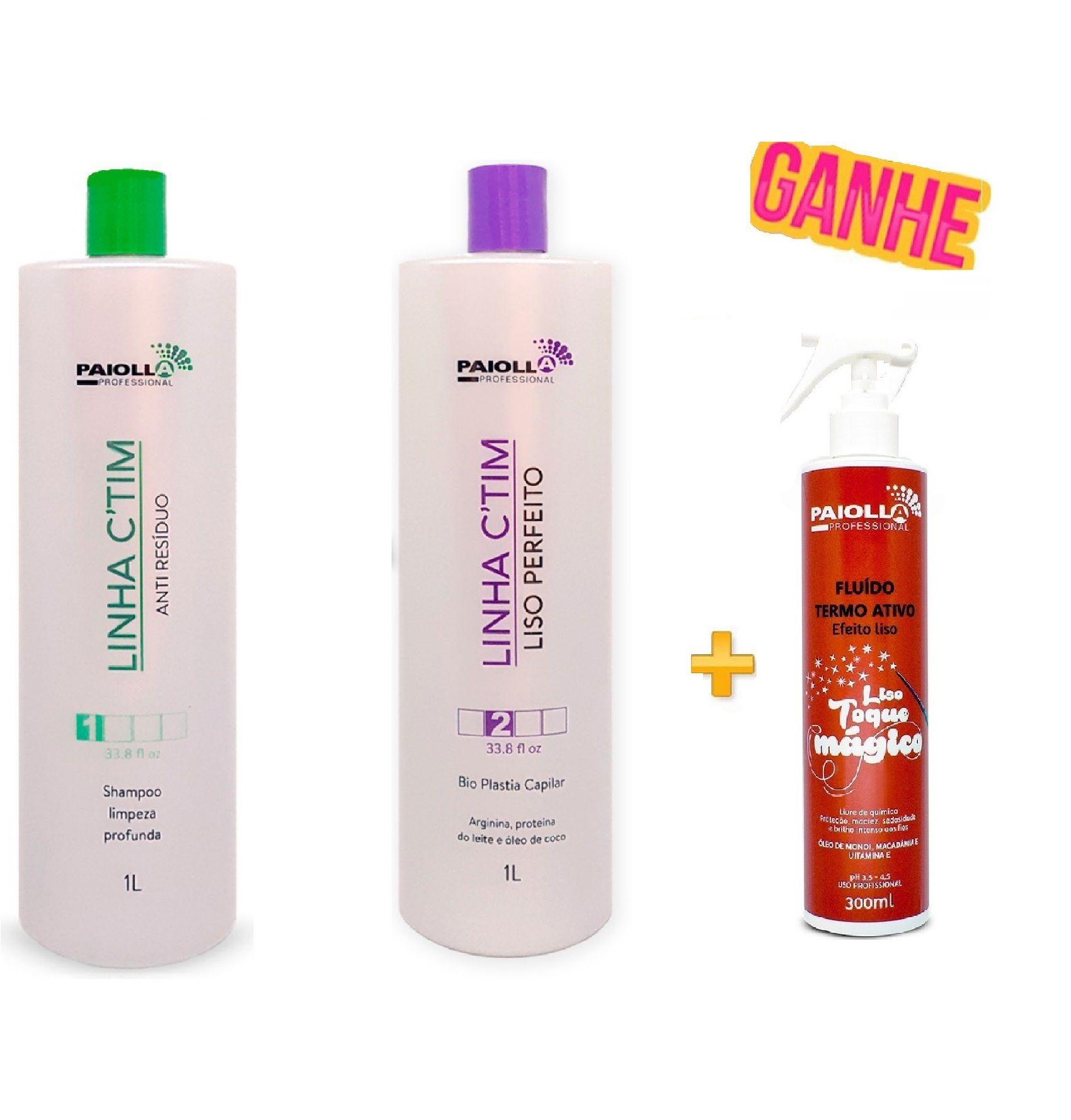 COMBO PROFISSIONAL Escova Progressiva Ctim + Shampoo + Fluído Liso Toque Mágico 300ml