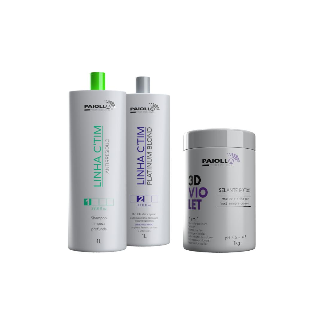 COMBO PROFISSIONAL Kit Ctim Platinum + Shampoo + Botox Violet 3D