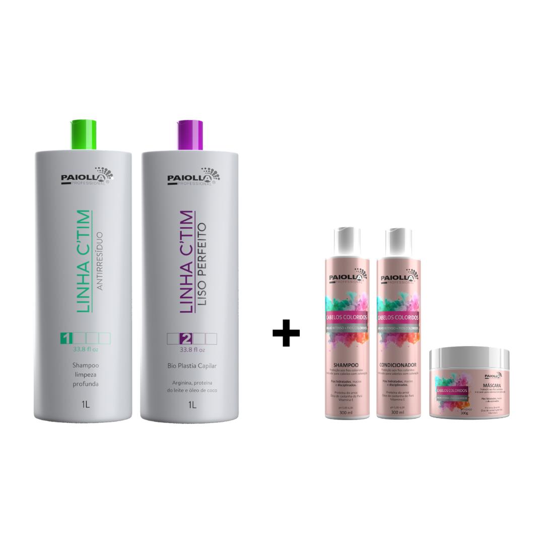 COMBO Progressiva Biotina e Colágeno Sem Formol + Shampoo + Kit manutenção Cabelos Coloridos 300ml