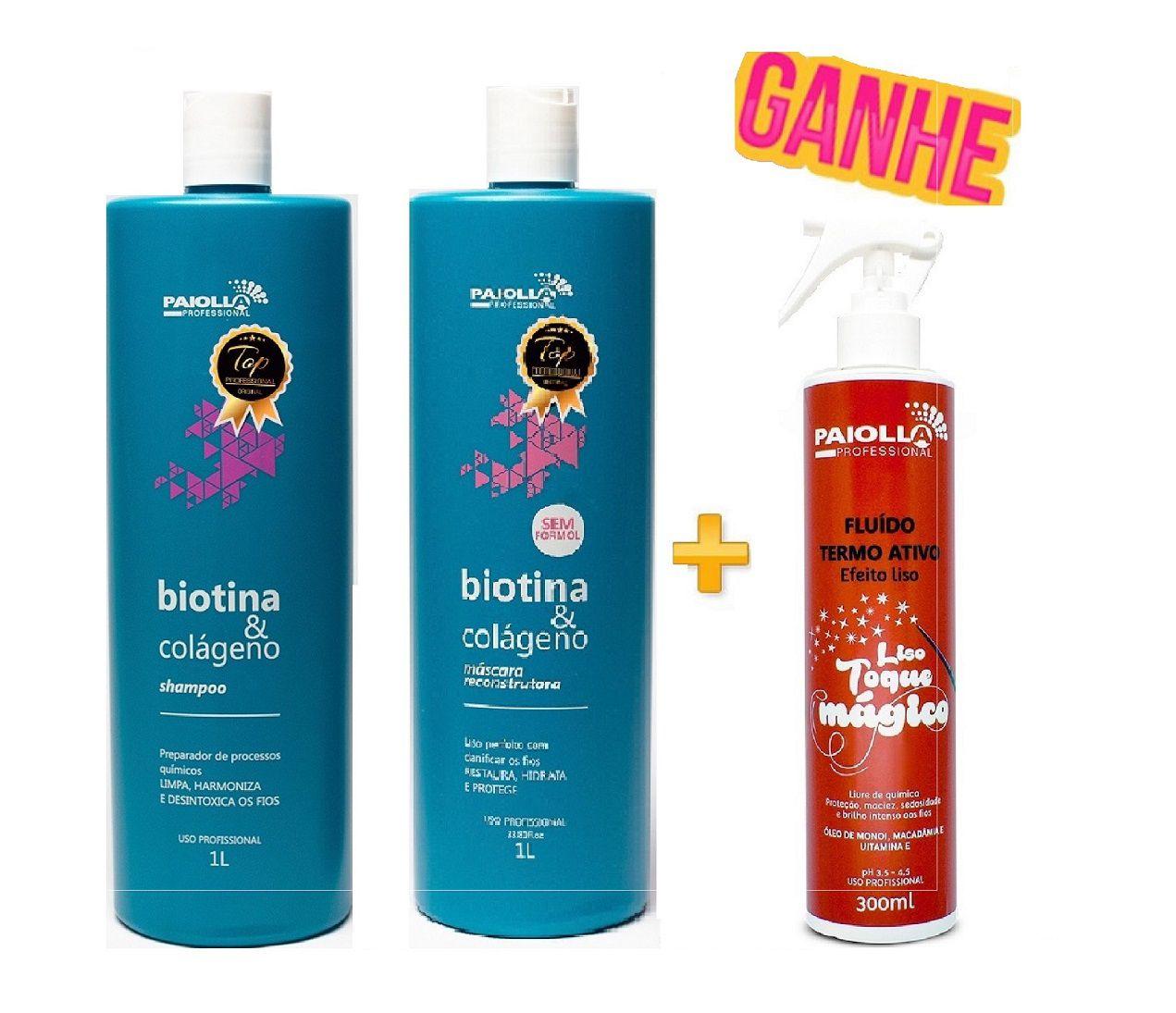 COMBO Progressiva Biotina E Colágeno + Shampoo+ Fluido Grátis