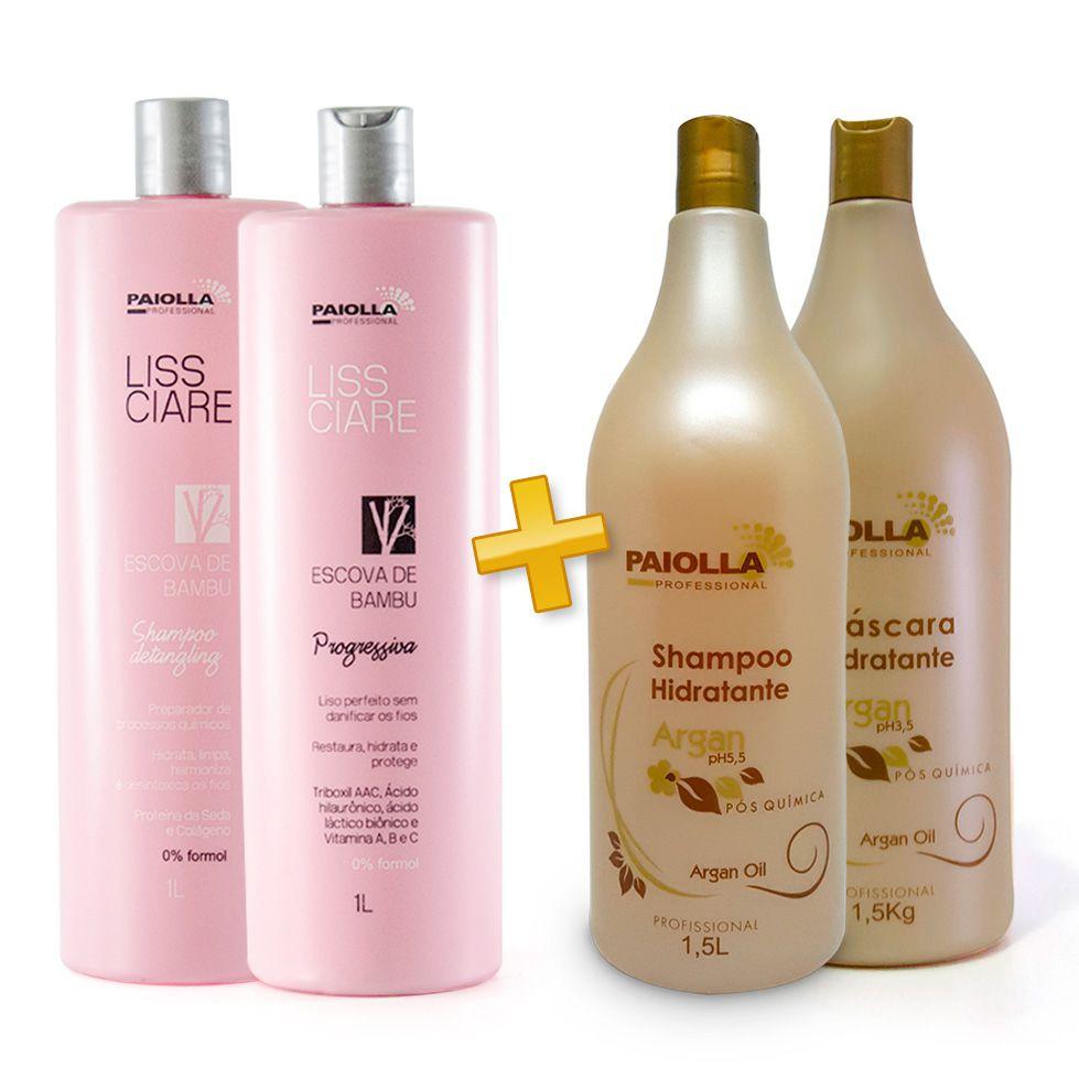 Escova Progressiva BAMBU - Sem formol + Shampoo e Máscara Argan
