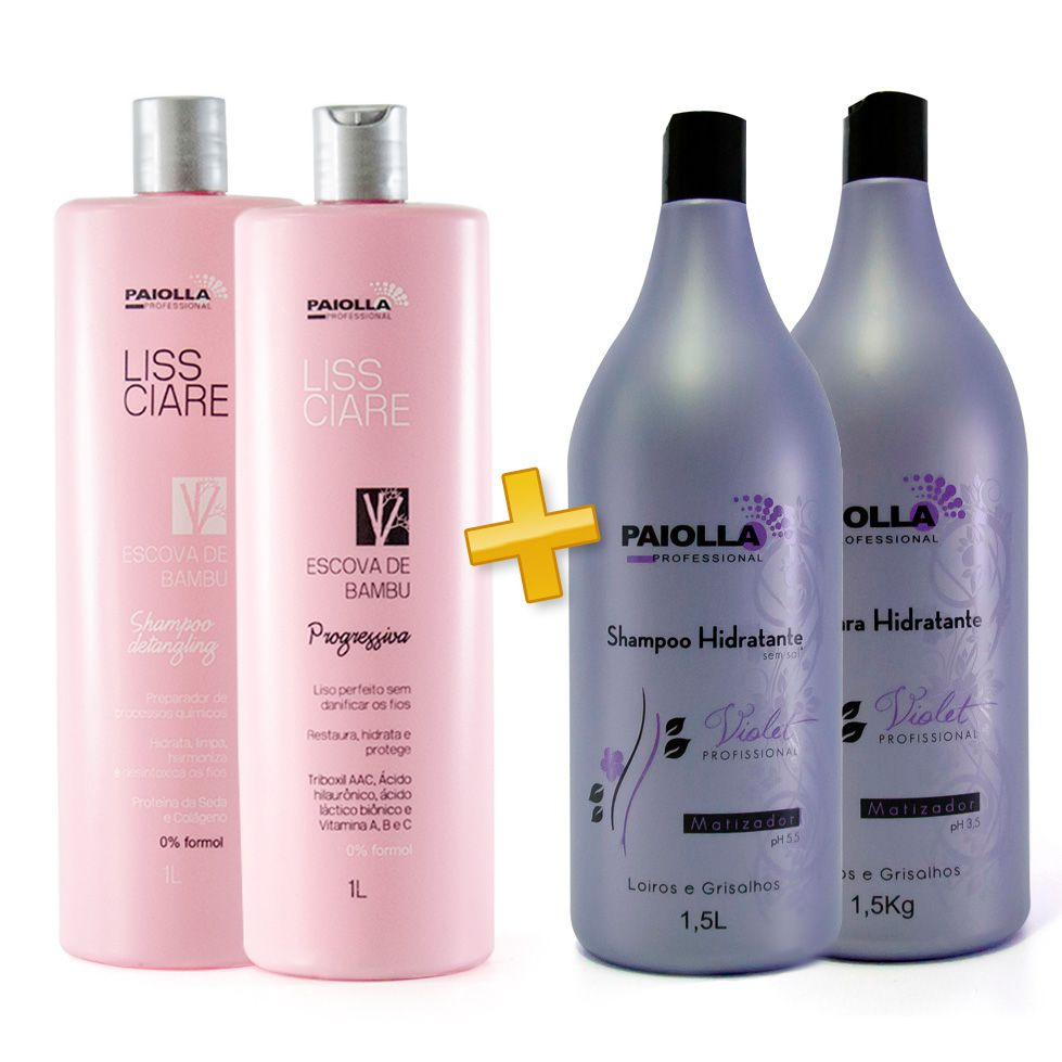 Escova Progressiva BAMBU - Sem formol + Shampoo e Máscara Violet