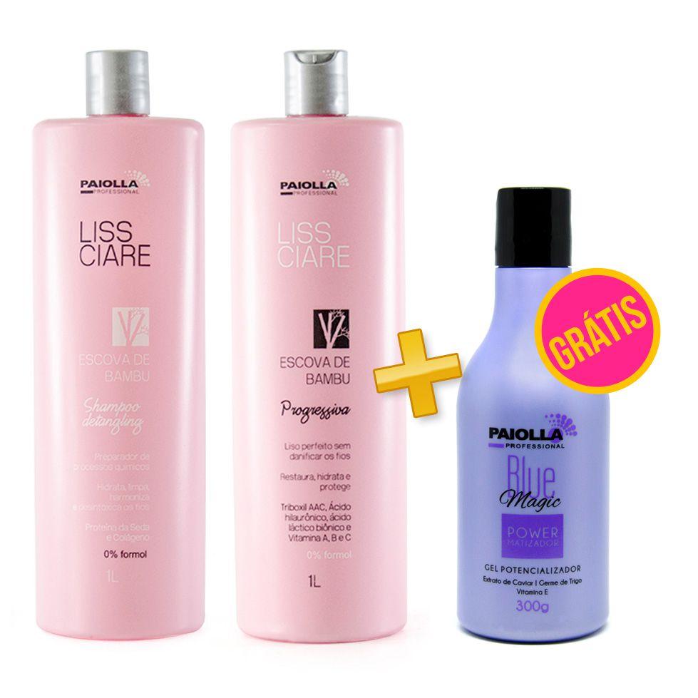 Escova Progressiva Sem Formol BAMBU + Shampoo e Blue Magic - GRÁTIS