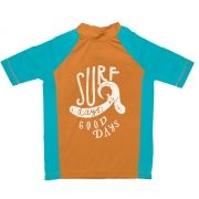 Camiseta de lycra maga curta surf / Laranja