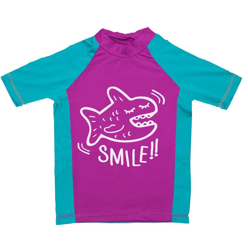 Camiseta De Lycra Manga Curta Smile Rosa