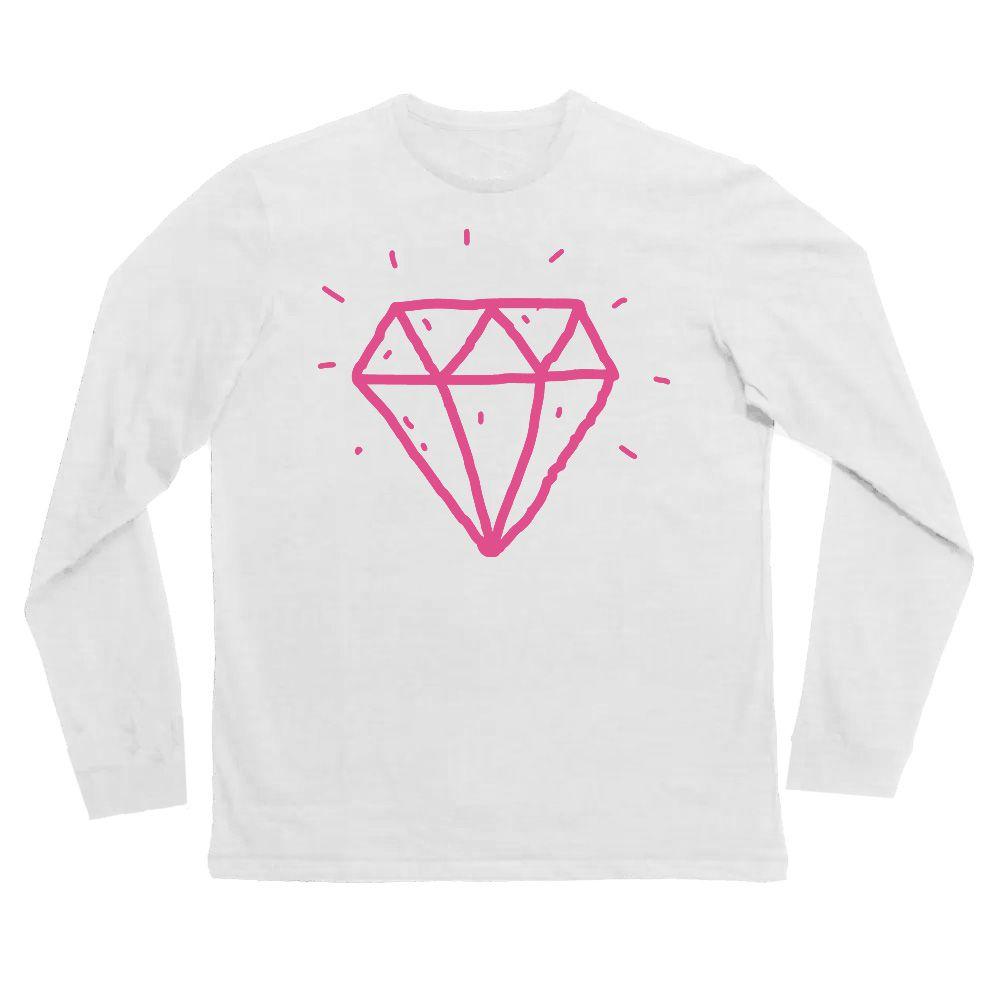 Camiseta diamante manga longa Branca