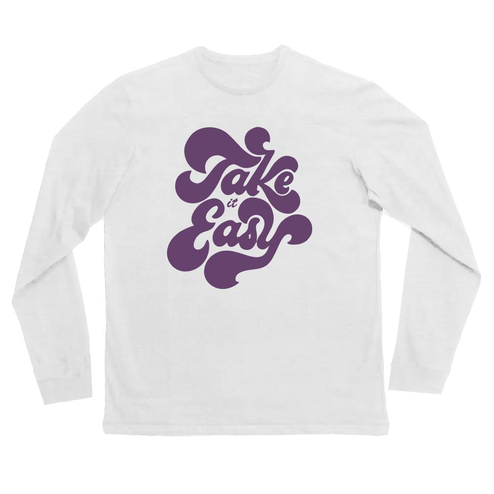 Camiseta take it easy manga longa Branca