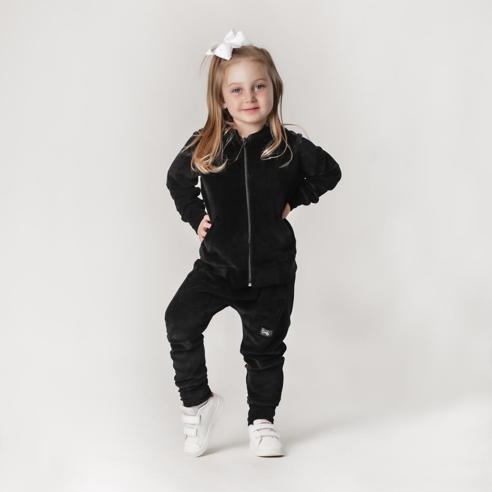 Conjunto Infantil Plush Comfy Jaqueta Mais Calça Preto