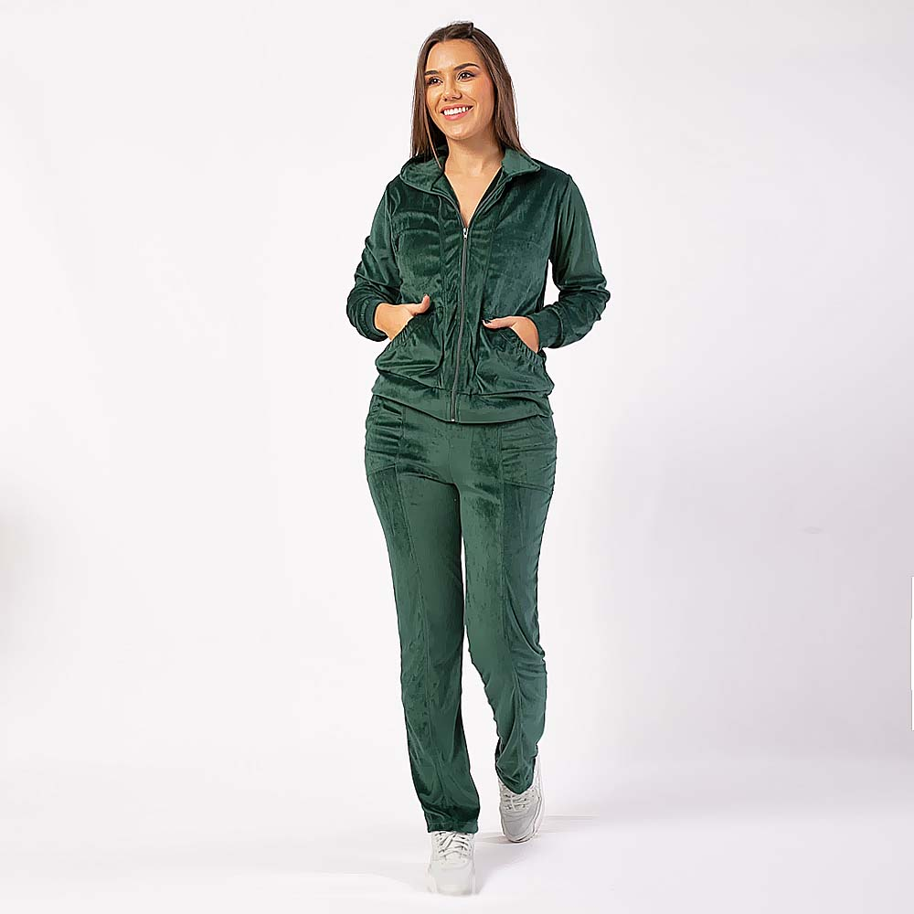 Conjunto Plush Comfy Jaqueta Mais Calça Verde
