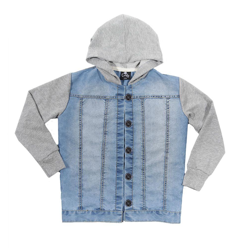 Jaqueta jeans mangas e capuz  moletom cinza