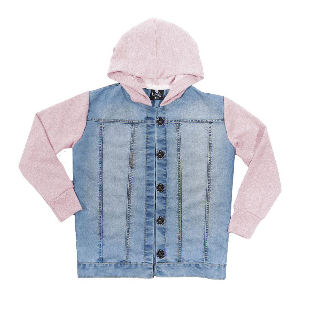 Jaqueta jeans mangas e capuz  moletom rosa