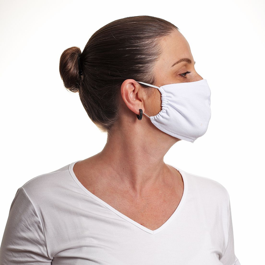 Kit 3 Máscaras de Tecido Camada Dupla Reutilizável Branca