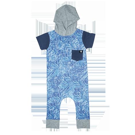 Macacão Com Capuz Jeans Azul