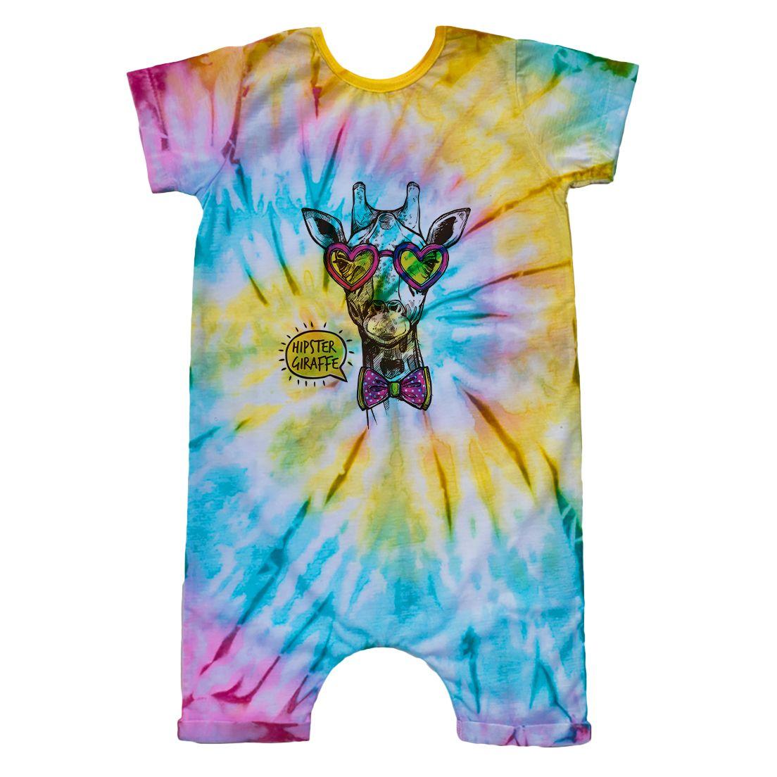 Macacão Curto Comfy Tie Dye Girafa