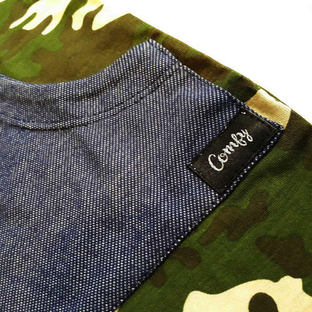 Macacão Longo Camuflado Bolso Canguru Jeans Azul
