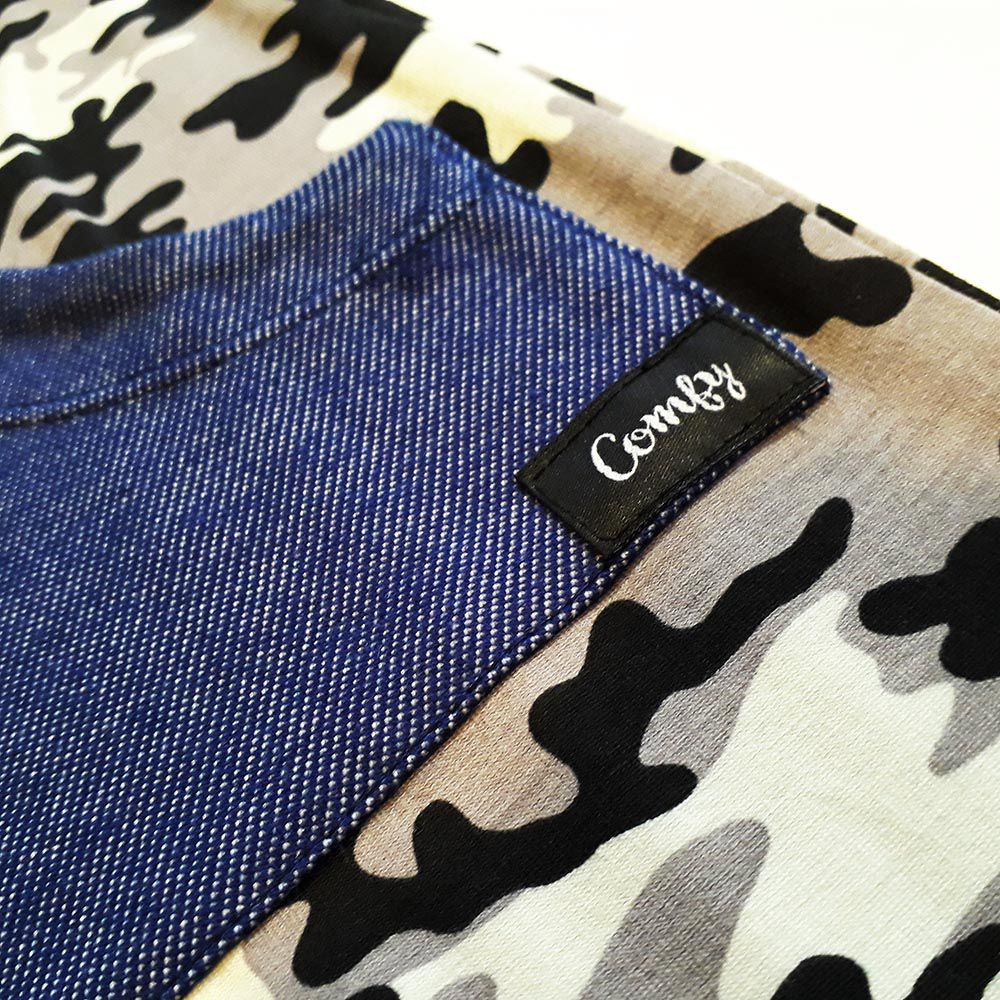 Macacão Longo Camuflado Cinza Bolso Canguru Jeans Azul