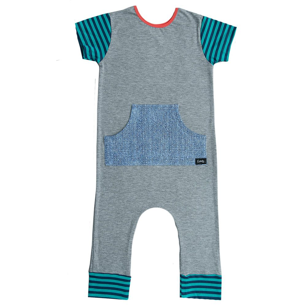 Macacão Longo Cinza Bolso Canguru Jeans Azul