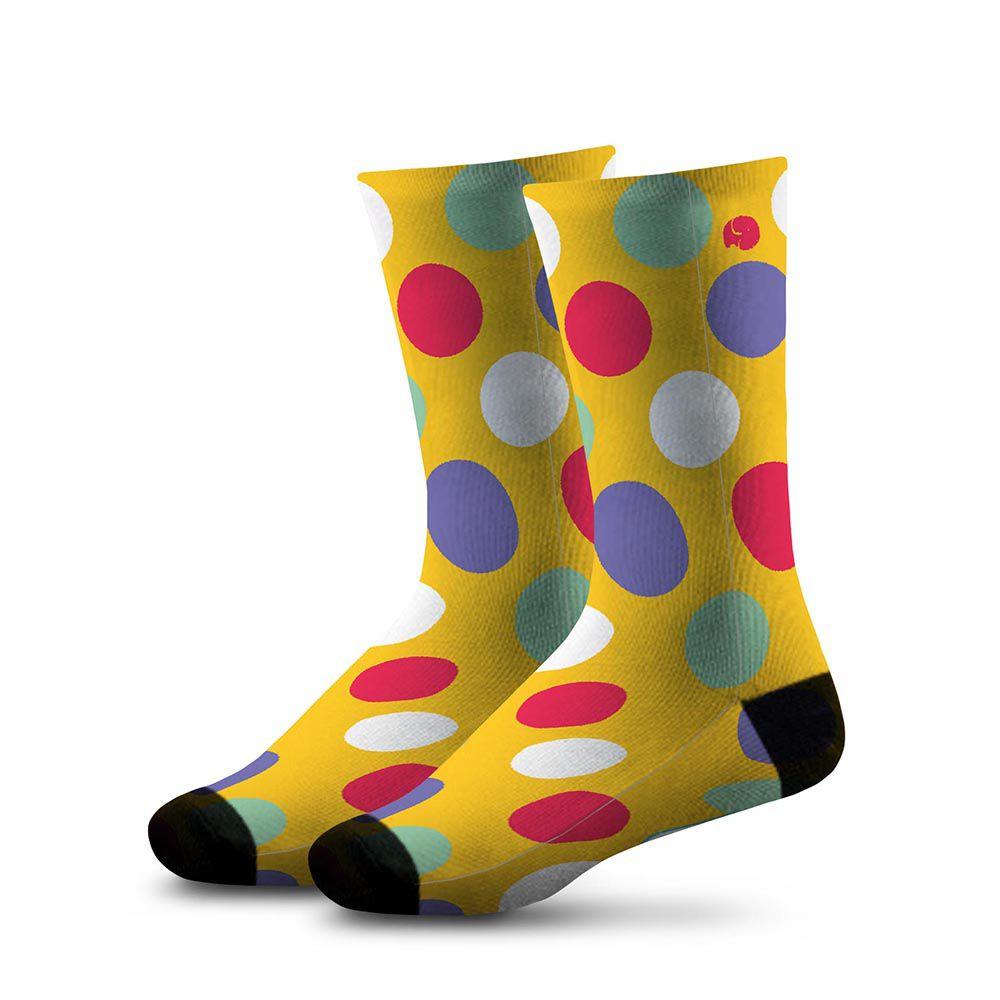 Meia Estampada Comfy Colors Yellow Balls