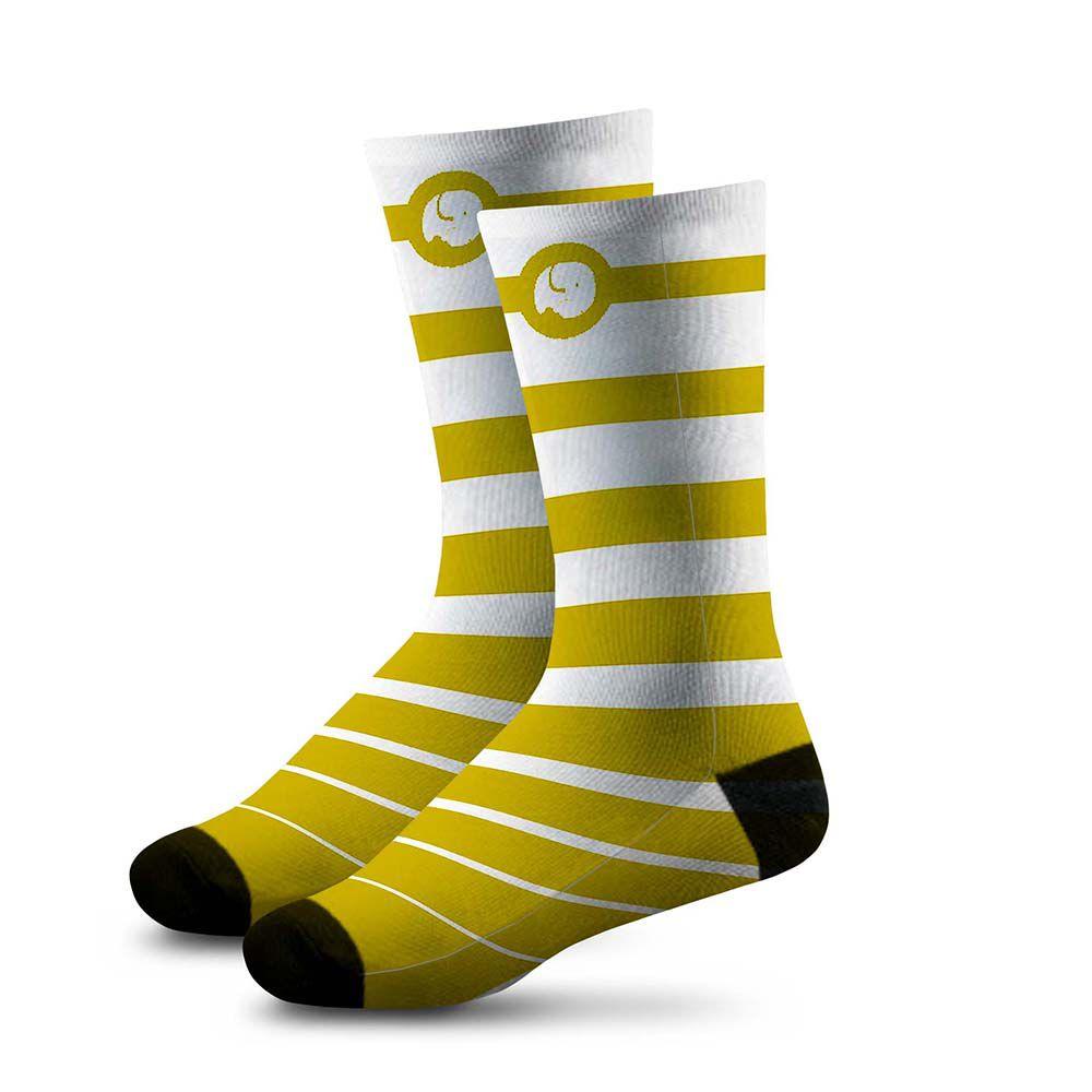 Meia Estampada Comfy Listras Yellow