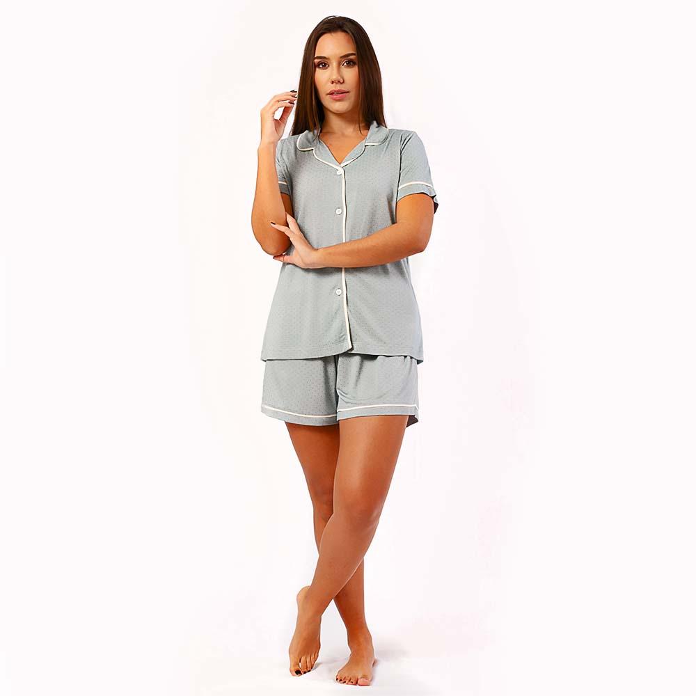 Pijama Feminino Comfy Manga Curta Poa Cinza