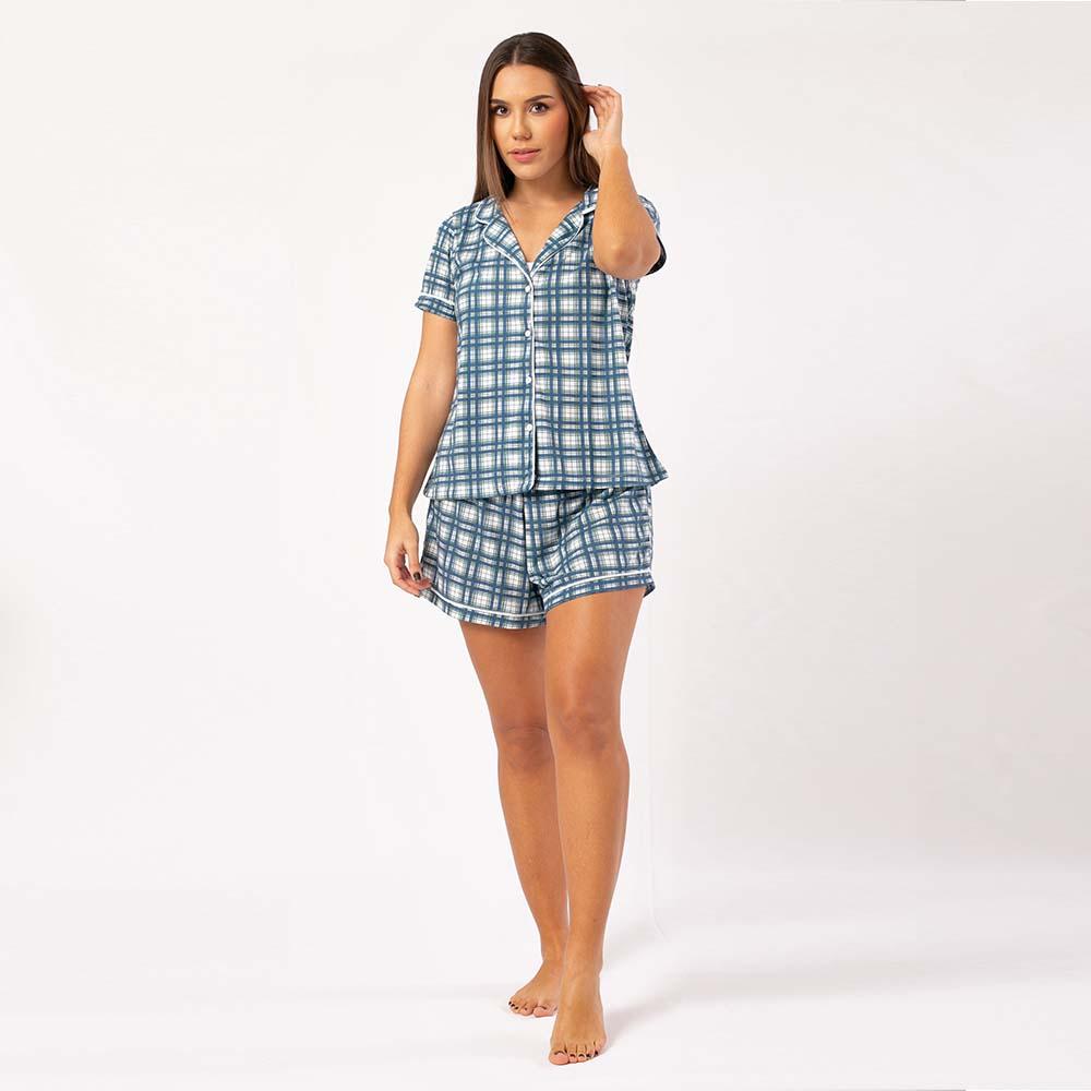 Pijama Feminino Comfy Manga Curta Xadrez