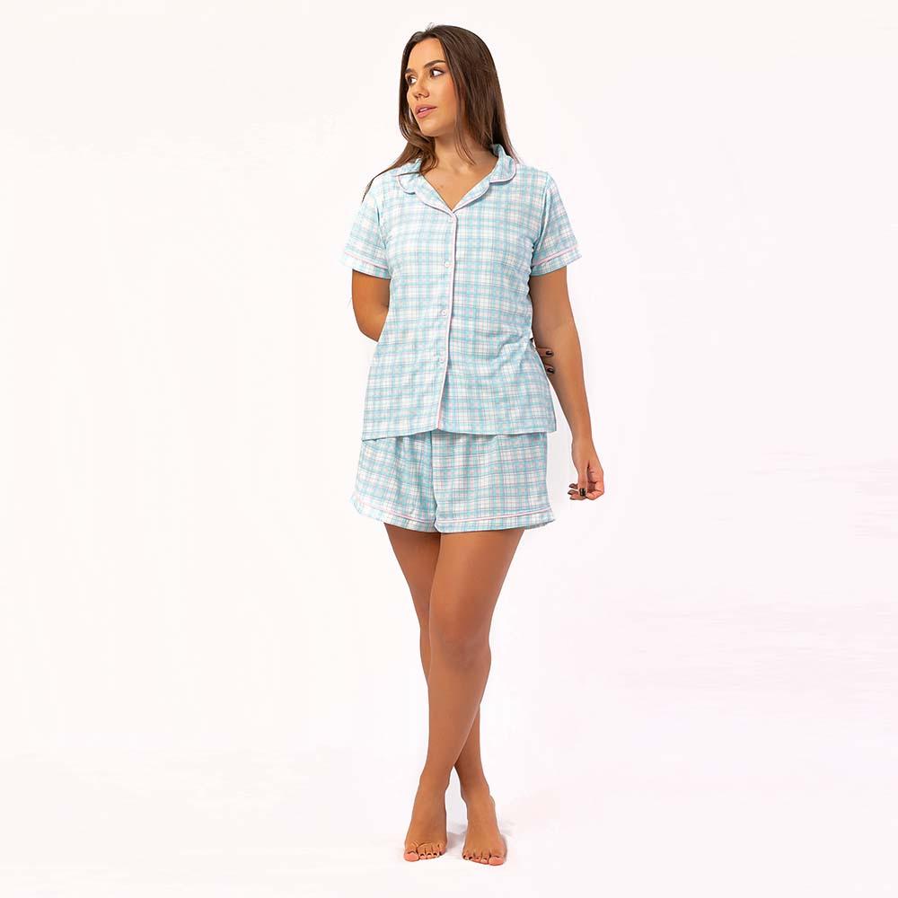 Pijama Feminino Comfy Manga Curta Xadrez Azul