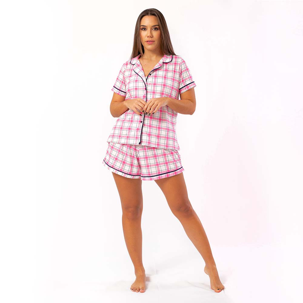 Pijama Feminino Comfy Manga Curta Xadrez Rosa