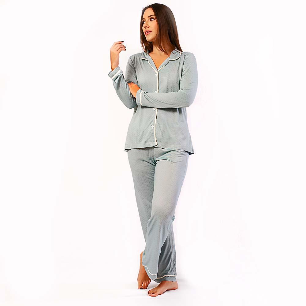 Pijama Feminino Comfy Manga Longa Poa Cinza