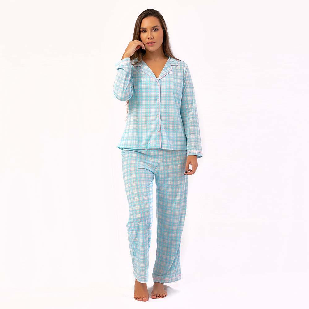 Pijama Feminino Comfy Manga Longa Xadrez Azul