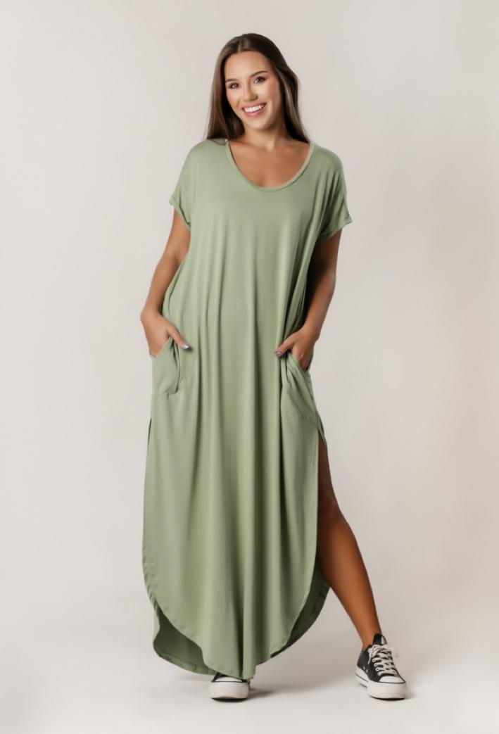 Vestido Comfy Wide Liso Verde Oliva