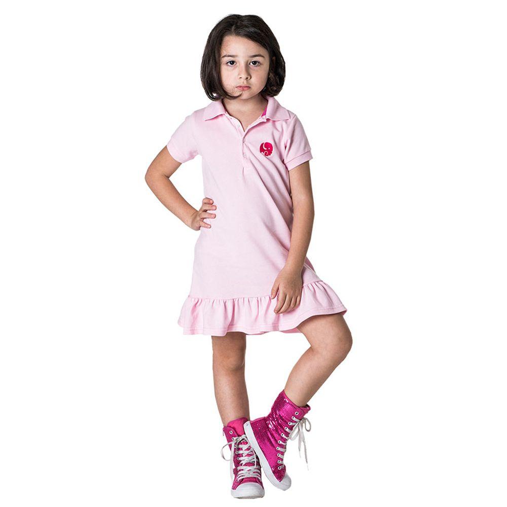 Vestido Piquet Rosa Bebe