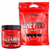 Kit Whey 100 Pure Chocolate 907g  e Glutamina 300g Integralmedica