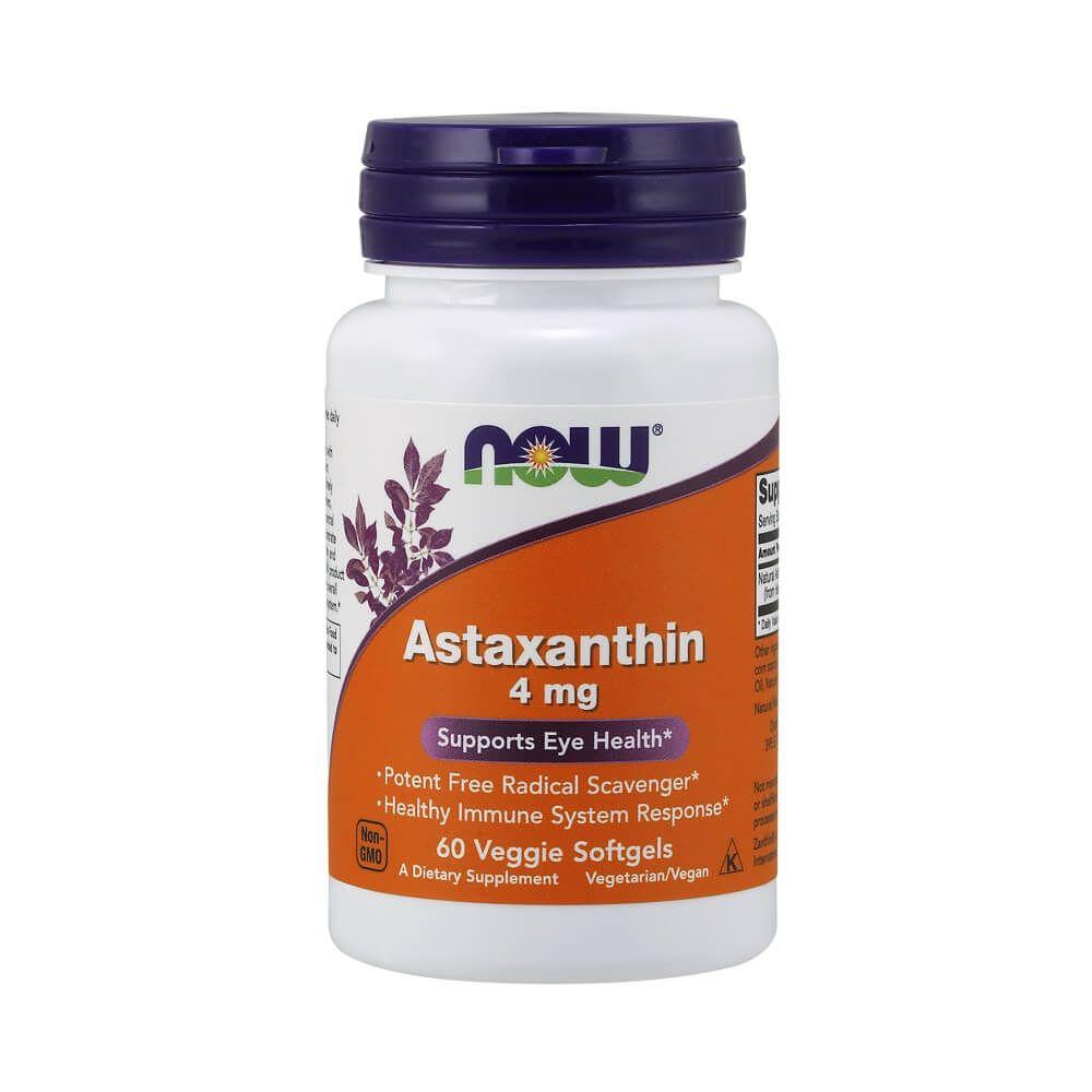 Astaxantina 4 mg 60 Softgels Vegetais Now Foods