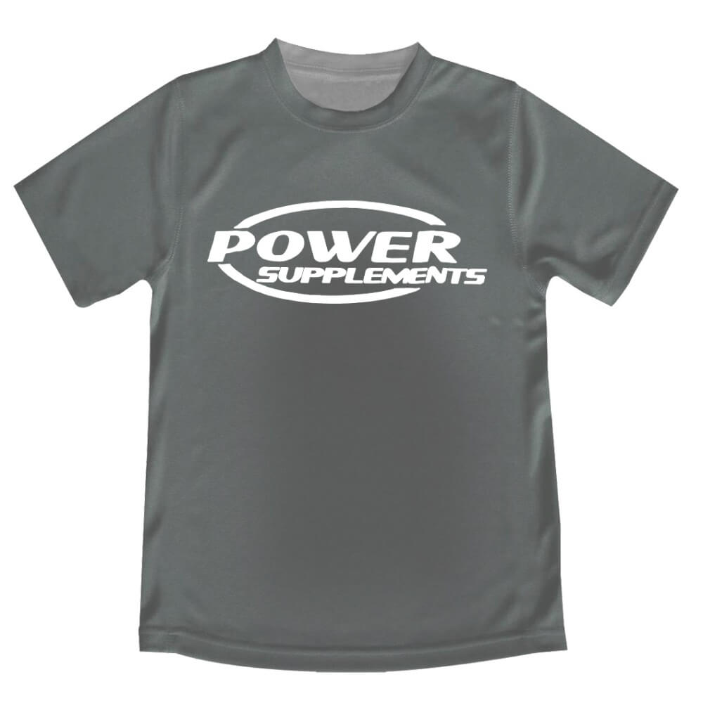 Camiseta promocional Cinza Power Supplements.