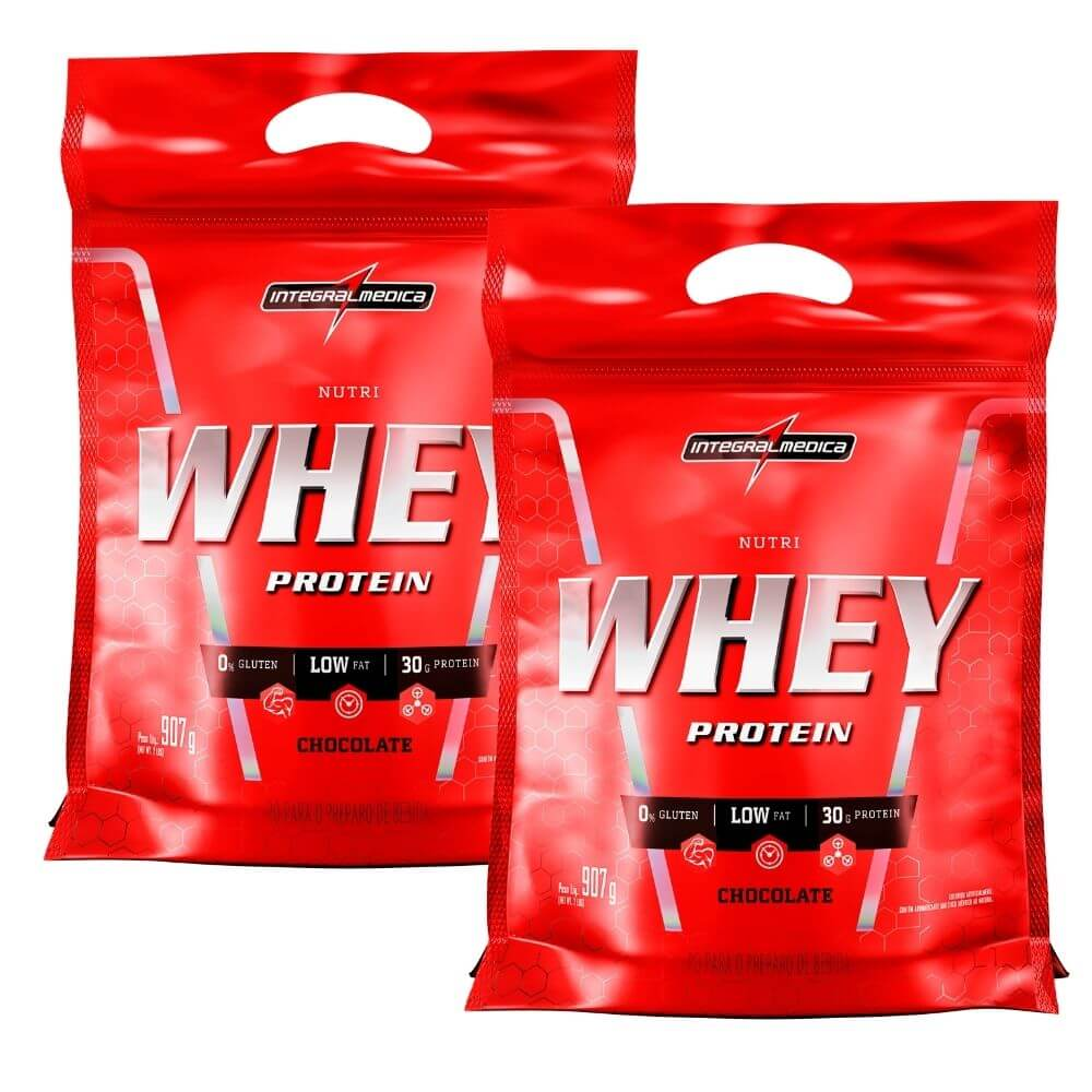 Combo 2 x Nutri Whey Chocolate Integralmedica Refil com 907 gramas cada