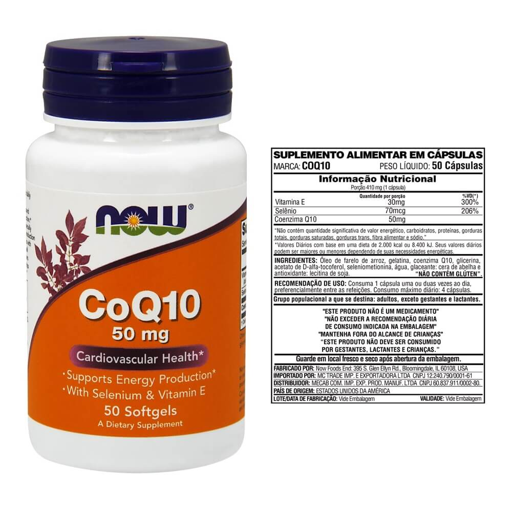 COQ10 50mg - 50 Cápsulas Now- Foods