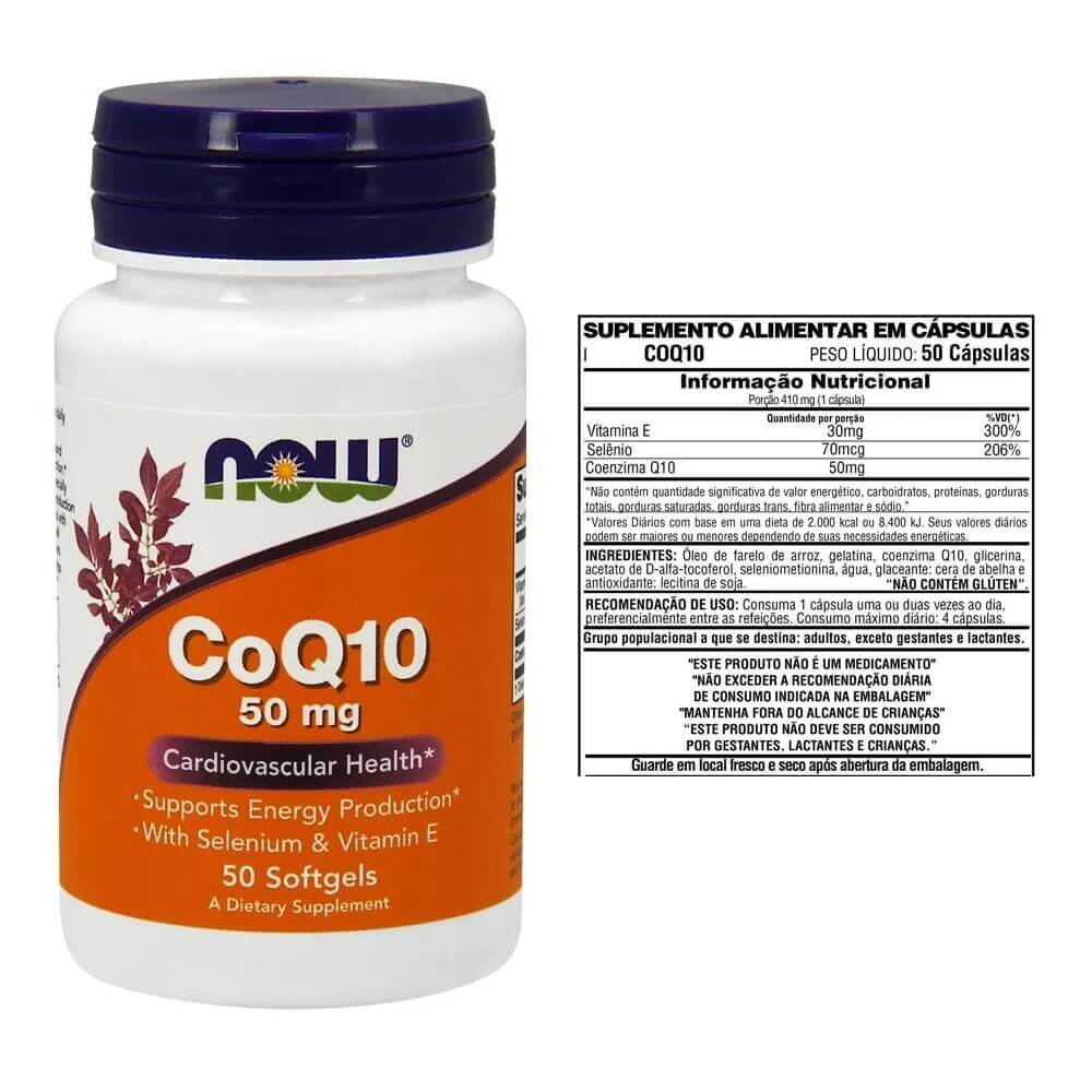 COQ10 50mg - 50 Cápsulas Now- Foods