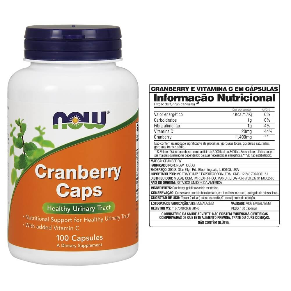 Cranberry Concentrado 100 Cápsulas Now Foods