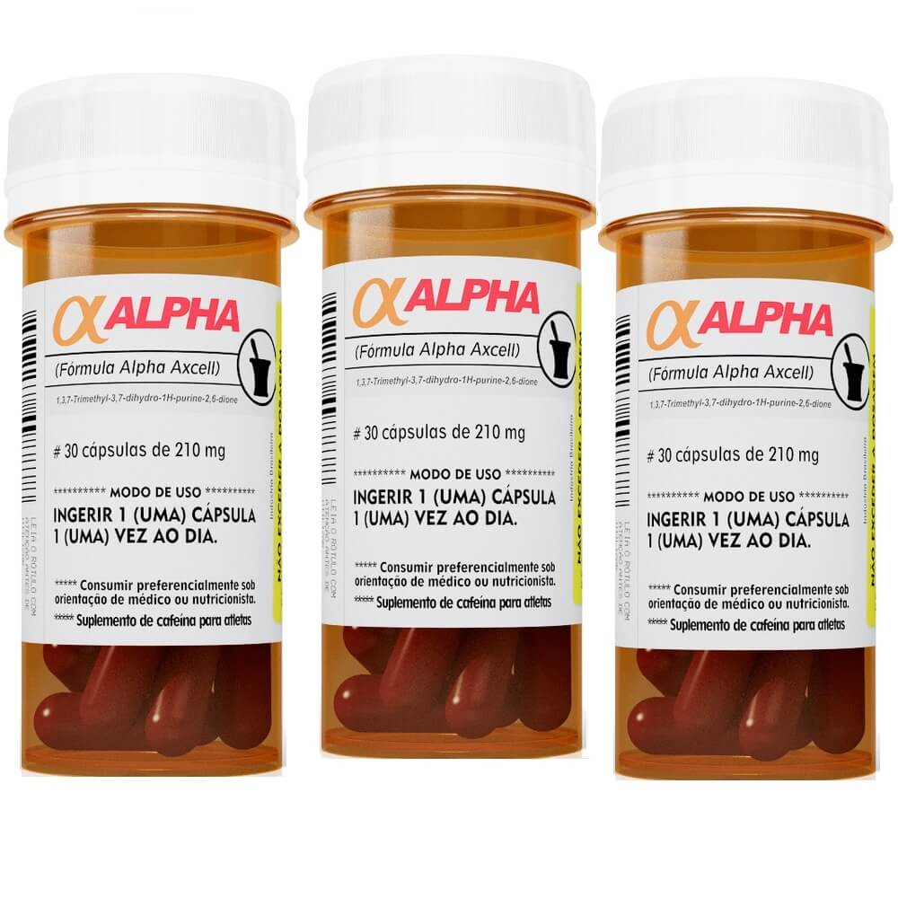 Kit 3 x Alpha Axcell 30 caps cada Cafeína  Power Supplements