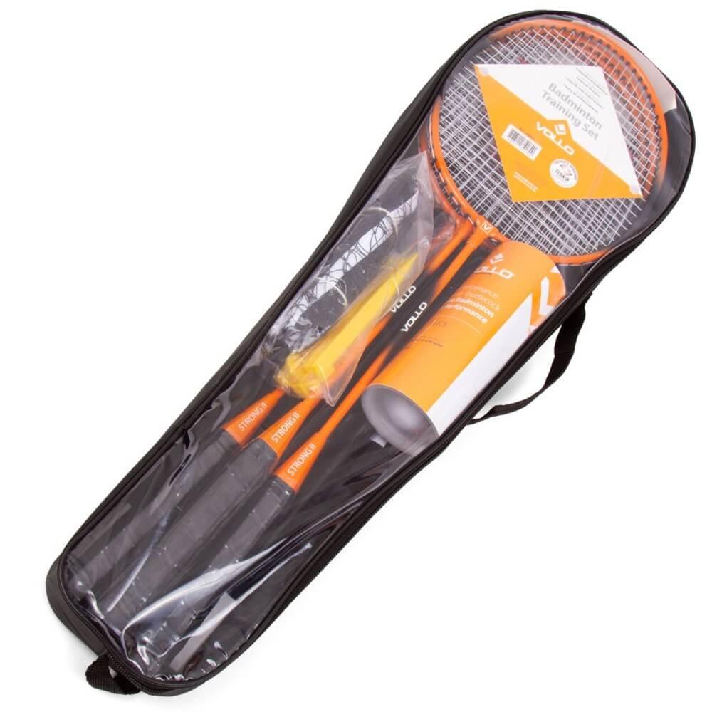 Kit Badminton 4 Raquetes com 3 Petecas e Rede e Suporte Vollo Vb004